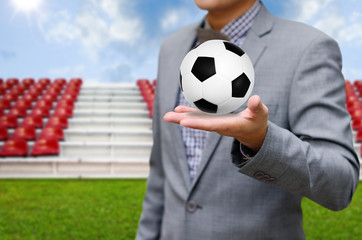 Businessman invest in soccer team, Football game concept