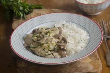 Chicken mushroom and tarragon fricassee