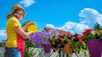 Frau gießt die Balkonblumen