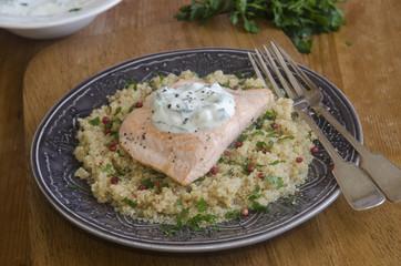 Salmon with quinoa and tzatziki