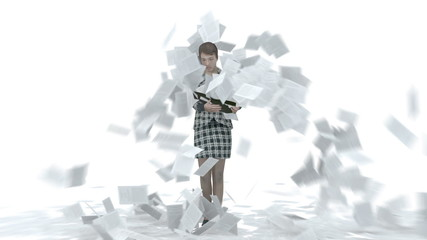 Business Woman deluged by paperwork