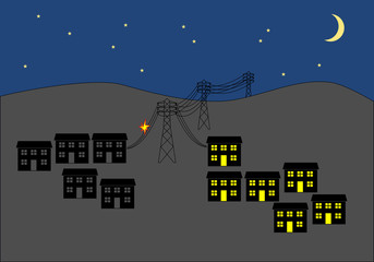 Power cut in town at night clip art