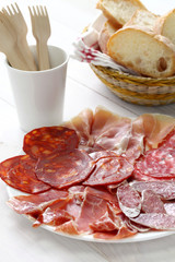 various types of  spanish salami, sausage and ham.