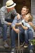 Father, son and grandson on veranda