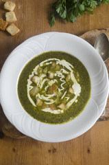 Wild garlic and potato soup