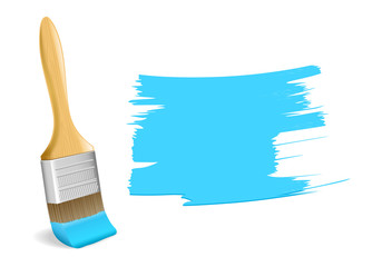 Paint brush with blue paint stroke