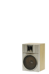 Single old, dusty stereo speaker on white background, clipping p