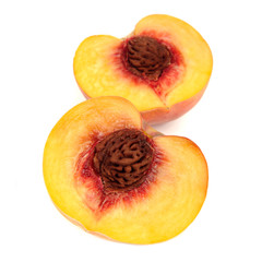 Two Halves of Peach Isolated on White Background