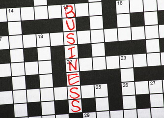 The word Business in a newspaper crossword Puzzle