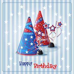 Greeting card with a birthday hats and confetti