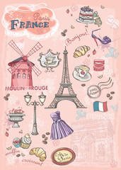 Set of images of various attractions, Paris, France
