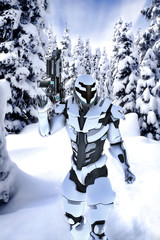 Futuristic soldier in a wood with snow
