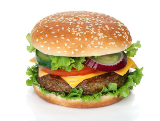 Tasty hamburger isolated on white background