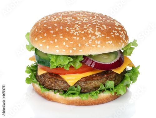 Spoed canvasdoek 2cm dik Restaurant Tasty hamburger isolated on white background