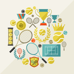 Sports background with tennis icons in flat design style.