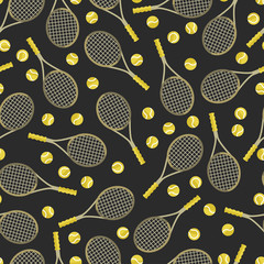 Sports seamless pattern with tennis icons in flat design style.