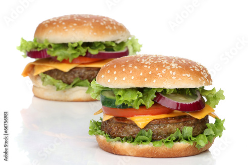 Fotobehang Restaurant Two delicious hamburgers isolated on white background