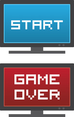 Isolated TV with Start or Game Over on the screen