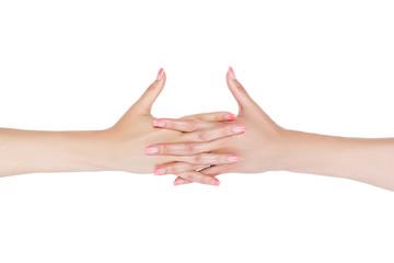 Women's clasped hands.