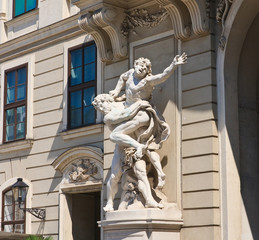 Sculpture depicting the labors of Hercules. Hofburg Palace porta