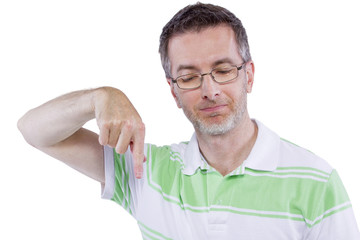 adult man in green shirt with advertising gestures
