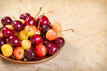 fresh cherry in dish