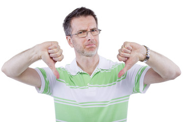 adult man in green shirt with thumbs down gesture