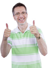 adult man in grene shirt with thumbs up gesture