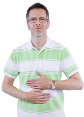 adult man holding painfull upset stomach in white background