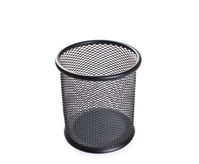 cylinder shaped metal net box pencil holder isolated on white