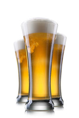 Beer in glass isolated on white