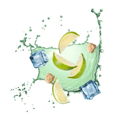 water splash with lime, ice and sugar isolated
