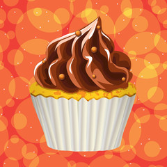 Cake with cream on a colorful background. Vector.