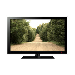 LCD monitor isolated on white with dirt road in the screen