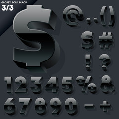 Vector alphabet of simple 3d glossy letters. Sans bold