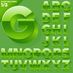 Vector alphabet of simple 3d glossy letters. Sans bold. Green