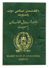 Islamic state of Afghanistan passport isolated on white backgrou