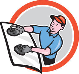 Automotive Glass Installer Front Circle Cartoon