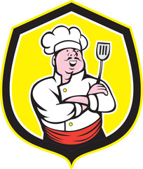 Chef Cook Holding Spatula Shield Cartoon