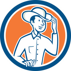 Cowboy Tipping Hat Circle Cartoon