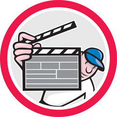Movie Director Holding Clipboard Cartoon