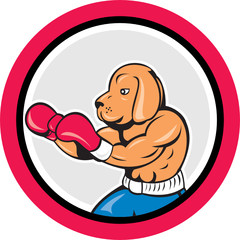 Dog Boxer Boxing Circle Cartoon