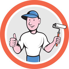 House Painter Paint Roller Thumbs Up Cartoon
