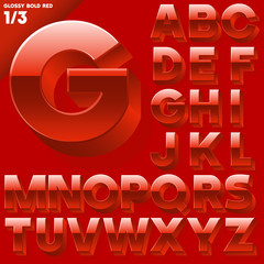 Vector alphabet of simple 3d glossy letters. Sans bold. Red