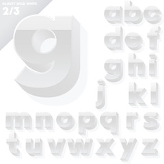 Vector alphabet of simple 3d glossy letters. Sans bold. Whit