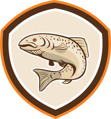 Rainbow Trout Jumping Cartoon Shield