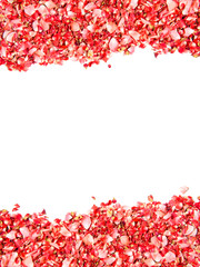 Blank card design with borders made of red rose petals