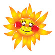 Sun cheerful, smiling. Vector character.