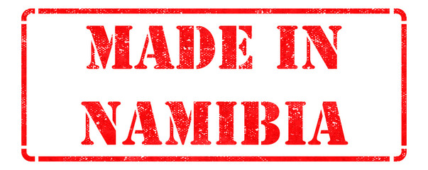 Made in Namibia on Red Rubber Stamp.