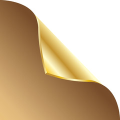 Folded edge of the sheet. Vector. Gold.